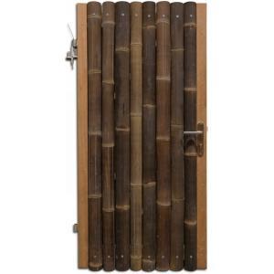 Bamboe schutting poortdeur zwart 100 x 180 cm x 60-80 mm