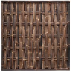 Korting Bamboe schutting zwart gevlochten 180 x 180 cm – verticaal
