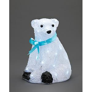 Acryl ijsbeer blauwe strik