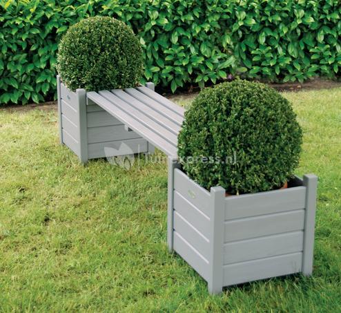 Nieuw Esschert Design Tuinbank met bloembakken grijs   Tuinexpress.nl YD-38