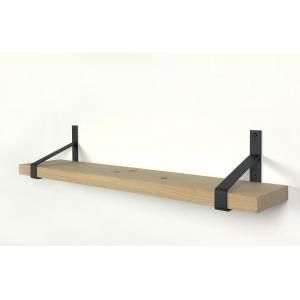 Eiken wandplank massief recht 120 x 25 cm inclusief plankdragers