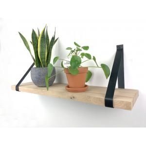 Eiken wandplank massief recht 120 x 30 cm inclusief leren riemen zwart