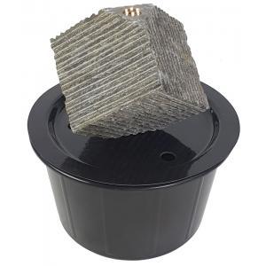Korting Kubus waterornament natuursteen LED 25 cm doorsnede