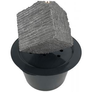 Korting Kubus waterornament natuursteen LED 38 cm doorsnede