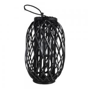 Houten windlicht Fohr zwart 28x45 cm
