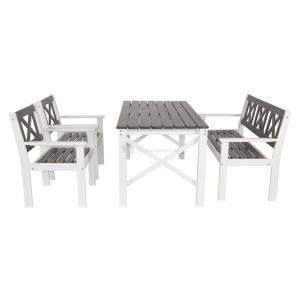 Larvik 4-persoons tuinset grijs / wit