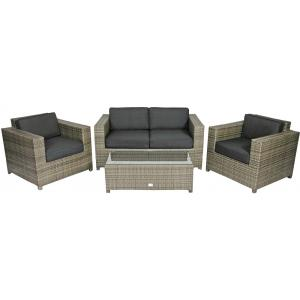 Supper Club Loungeset Lugo stone grey wicker