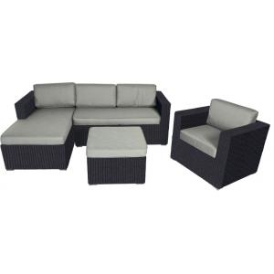 Supper Club Hoekbank loungeset Jazz four-stripes zwart wicker