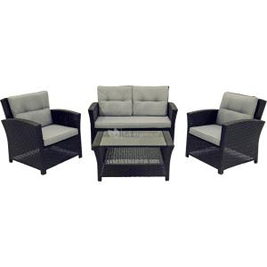 Supper Club Loungeset Jazz four-stripes zwart wicker