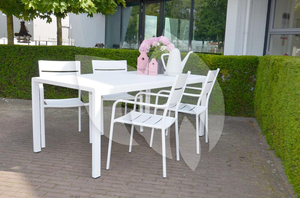 Express tuinstoel alaska aluminium wit for Witte tuinstoel