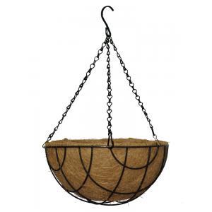 Hanging basket zwart gecoat met kokos inlegvel