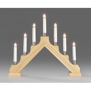 Kerstkandelaar grenenhout met 7 lampjes