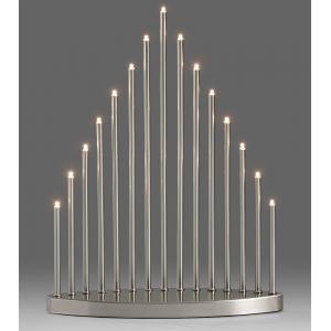 Kerstkandelaar metaal met 15 LED lampjes