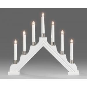 Korting Kerstkandelaar wit gelakt hout met 7 lampjes