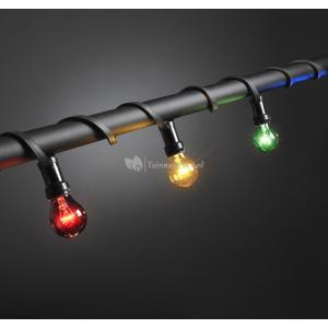 Feestverlichting met gekleurde e27 lampen - 14 meter - 20 lampen