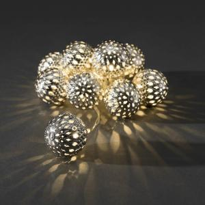 LED-lichtketting metalen bol zilver 10-lamps