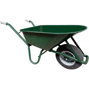 Korting Metalen bouwkruiwagen 85 liter groen Anti lek band