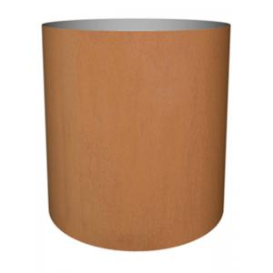 Cortenstaal plantenbak Standard cylinder 77x70cm op wielen