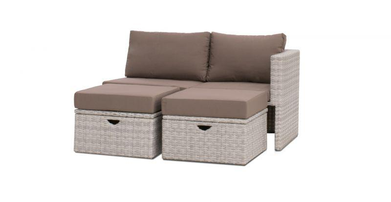 Rhodos lounge bench with footrest