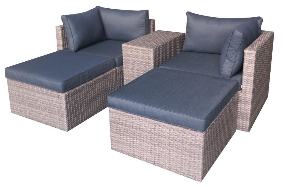 Korting Oregon lounge set 5pcs (2x corner 2x hocker 64.5x64.5x32cm side table 64.5x31x52.5cm)