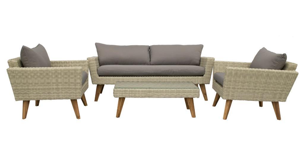 Korting Andalucia lounge set 4 pcs (1x bench 2x lounge chair 1x lounge table 102x52x36 cm)