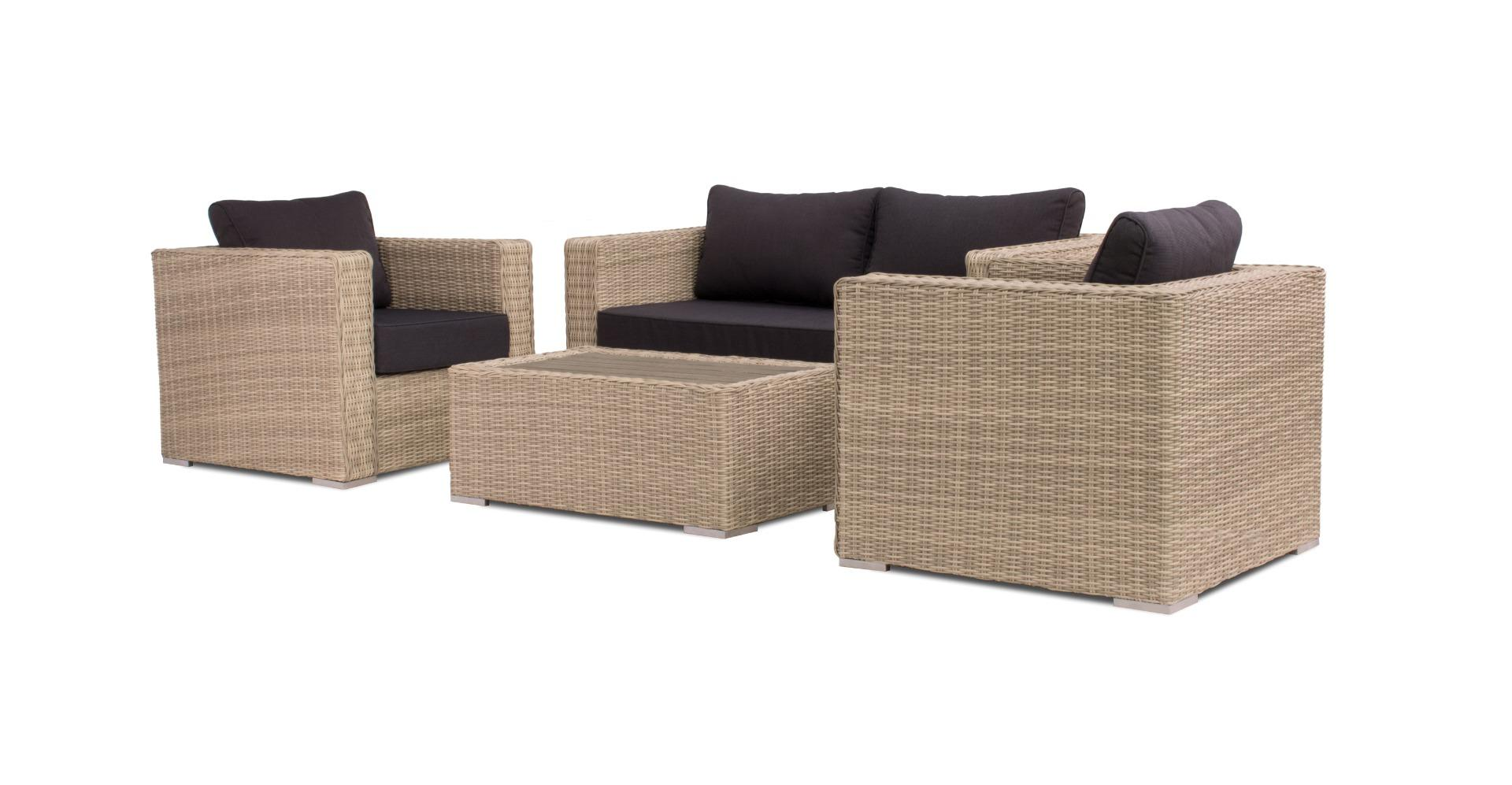 Matino lounge set with table wooden top 4pcs (2x chair 1x bench 1x table)