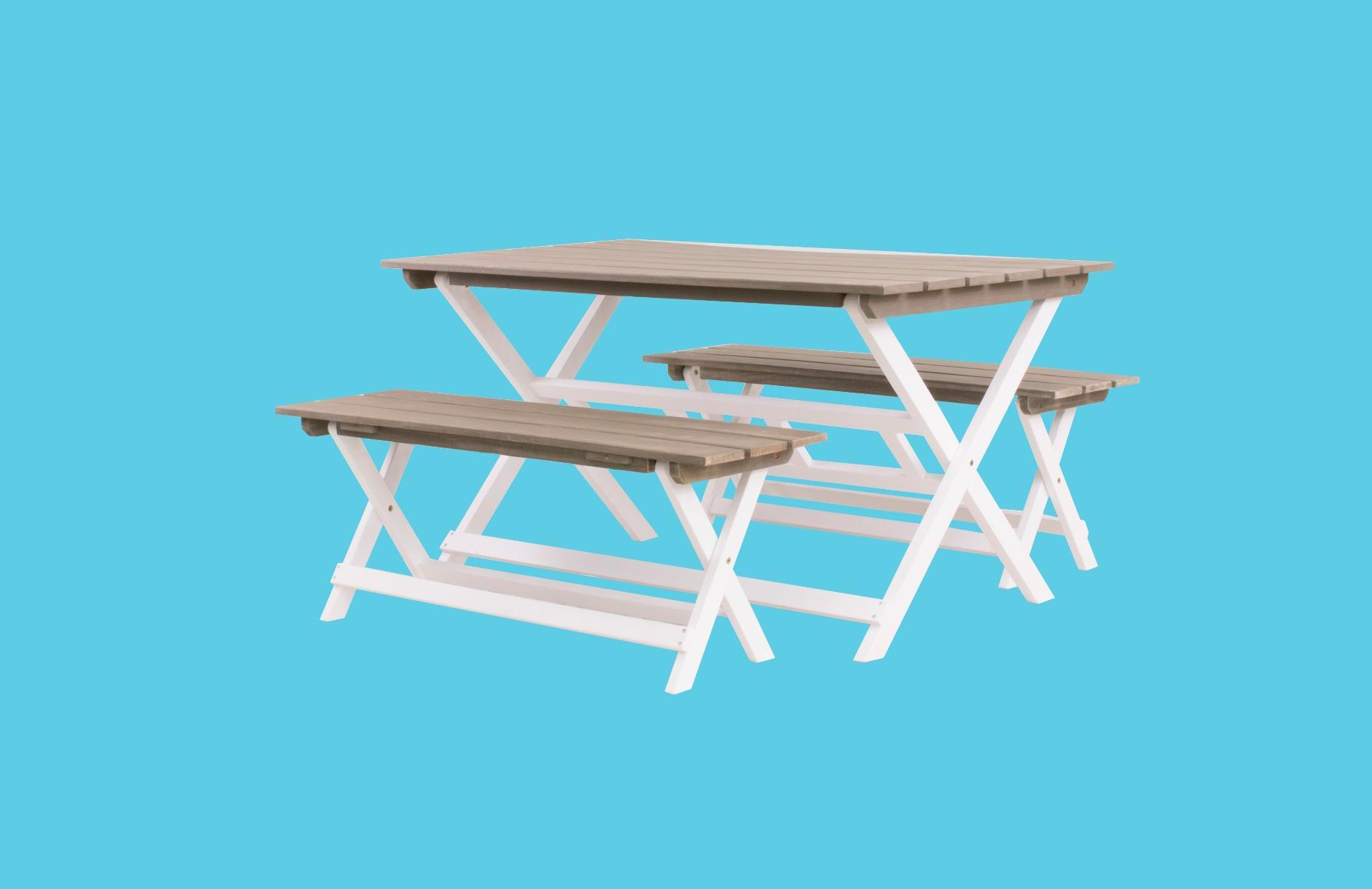 Norwich foldable set (2x bench 120x35x45 cm 1x table 140x80x74 cm)