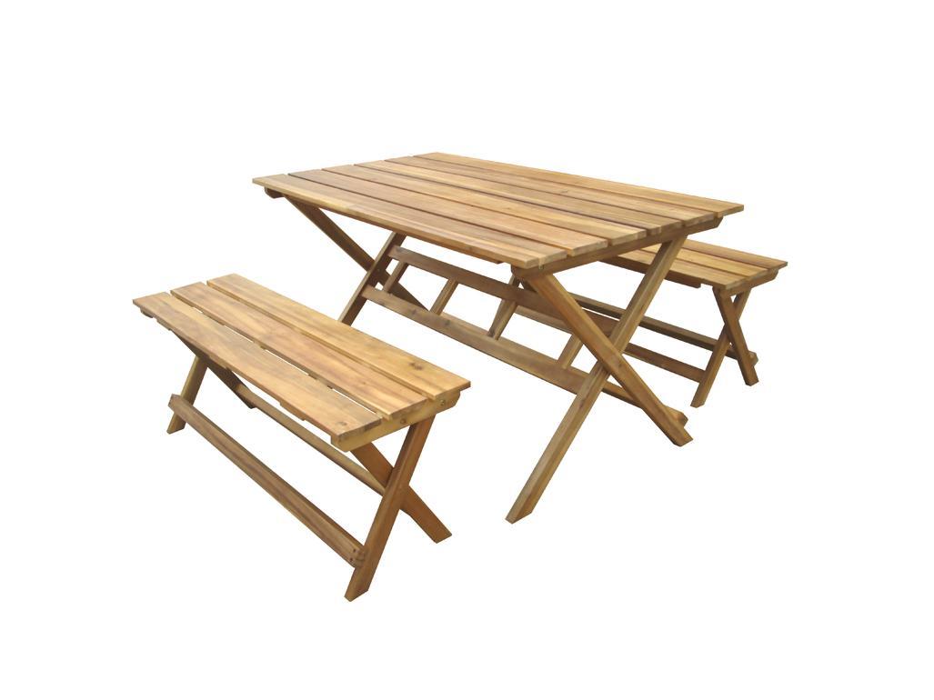 Korting Norwich foldable set (2x bench 120x35x45 cm 1x table 140x80x74 cm)