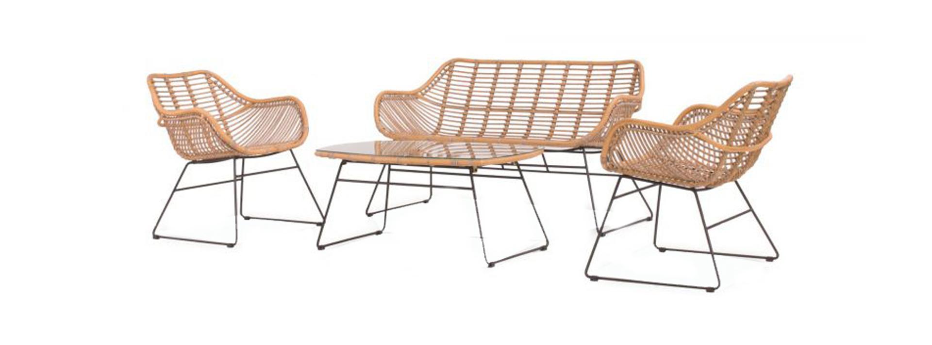 Wates lounge set 4pcs (2x chair bench 67x140x78cm lounge table 100x60x45cm)