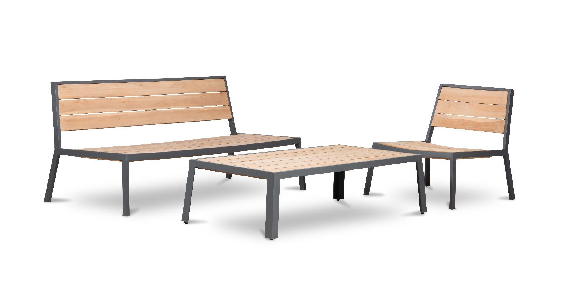 Korting Sant miguel lounge set 4pcs (2x chair bench lounge table 139x66x37cm)