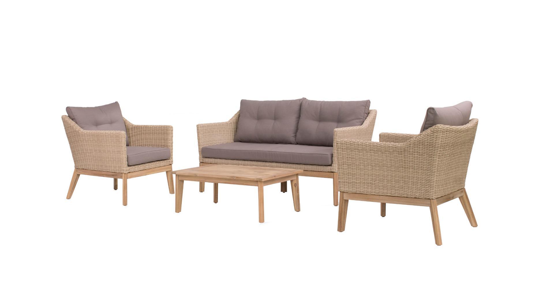 Larissa lounge set 4 pcs (2x chair 1x bench 157cm 1x table 90x60x34cm)