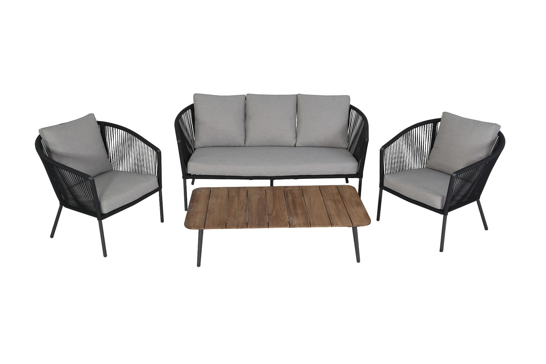 Korting Reims stackable lounge set 4pcs (2x chair bench table 130x70x34cm)
