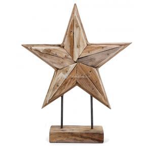 Korting Deco Ster houten beeld 30 cm