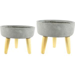 Bloempot op poten Bowl set van 2 stuks grijs