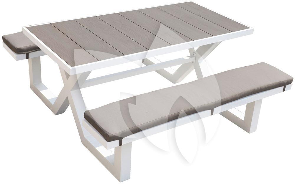 Picknick Tafel Aluminium.Tuinbankje Nl Picknicktafel Aluminium 160cm Wit Tuinexpress Nl
