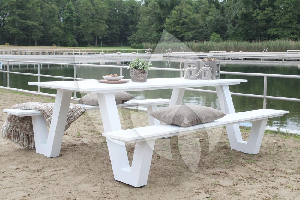 Picknick Tafel Aluminium.Tuinbankje Nl Picknicktafel Breeze Aluminium Wit Tuinexpress Nl