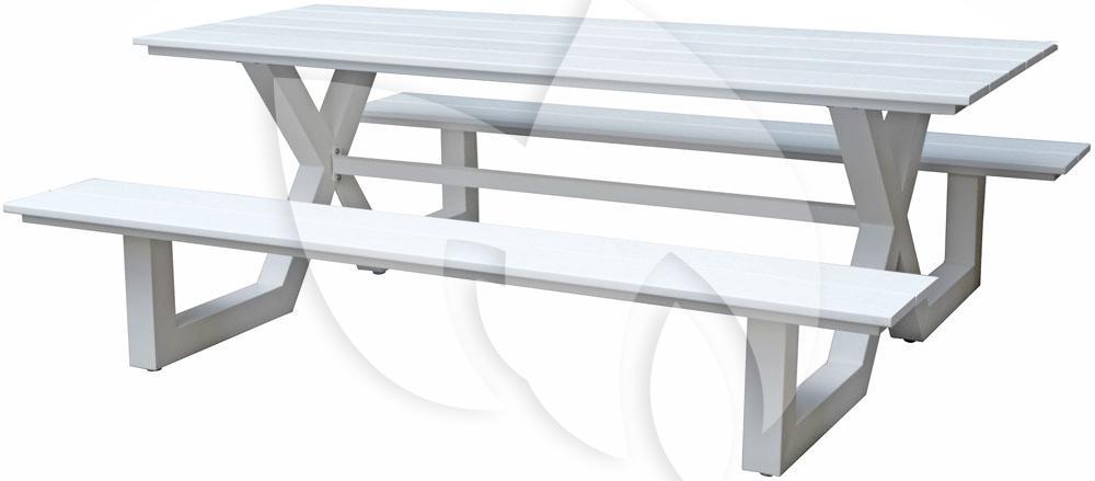 Picknick Tafel Aluminium.Tuinbankje Nl Picknicktafel Family Aluminium Wit Tuinexpress Nl